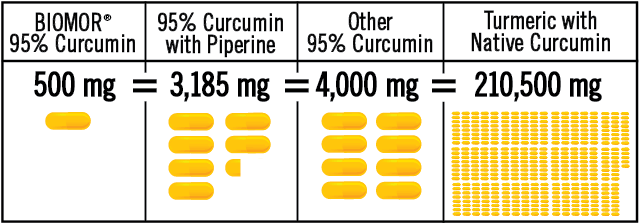 500 milligrams of BIOMOR 95 percent Curcumin is equivalent to up to 4,000 milligrams other 95 percent curcumin 95 percent, and is equivalent to 3,185 milligrams of 95 percent curcumin with piperine.