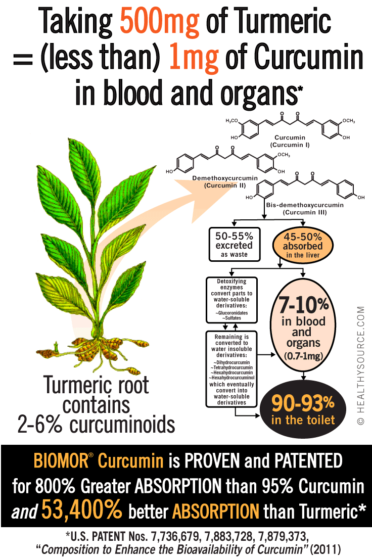 Human trials show most curcumin is wasted in the toilet but BIOMOR® Curcumin is shown to be up to 800% better ABSORBED into the blood and organs than other 95% standardized curcumin products (that's 53,400% greater ABSORPTION than turmeric extract)